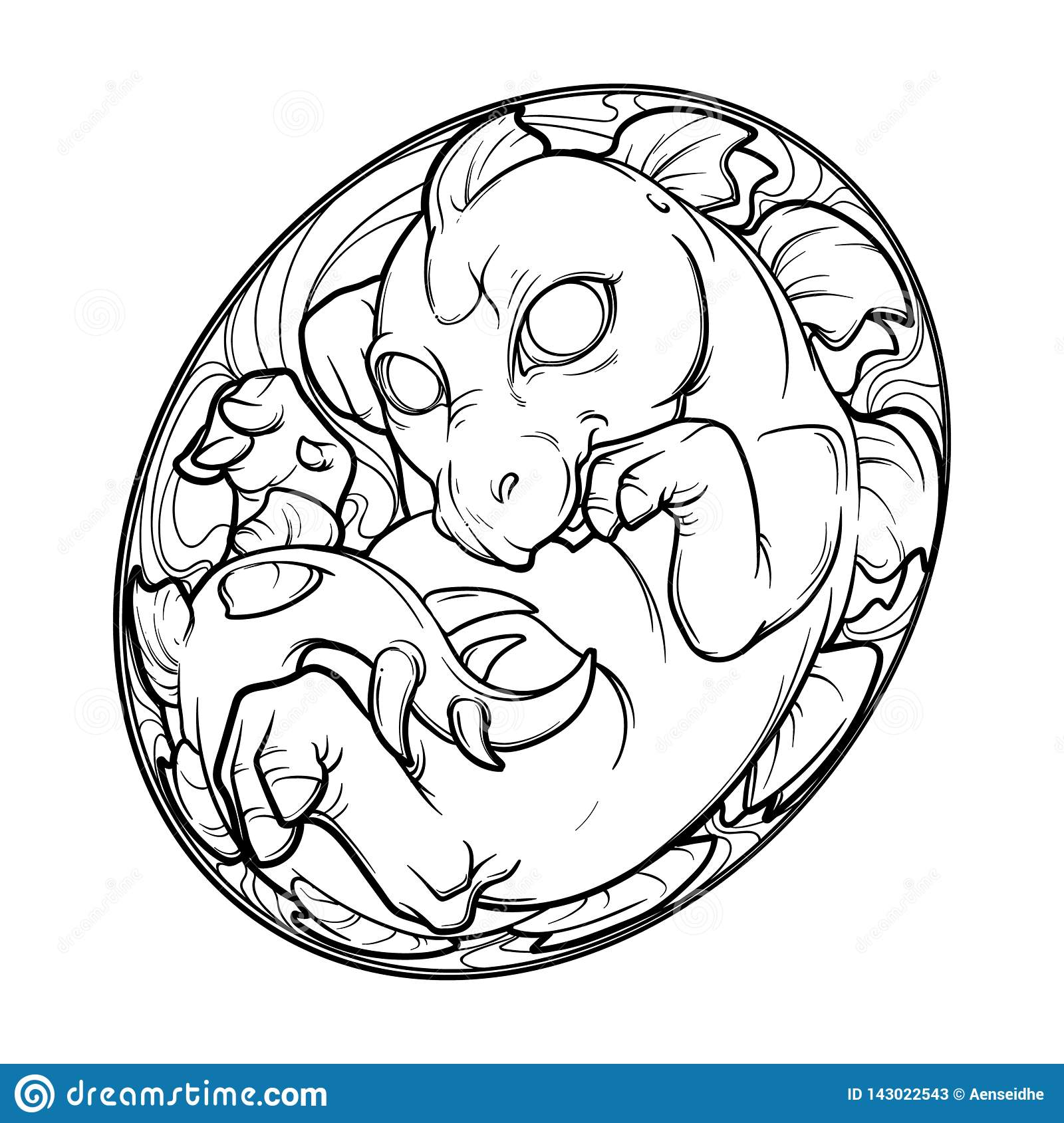 Baby Stegosaurus In The Egg Cute Animal Drawing Sketch Style