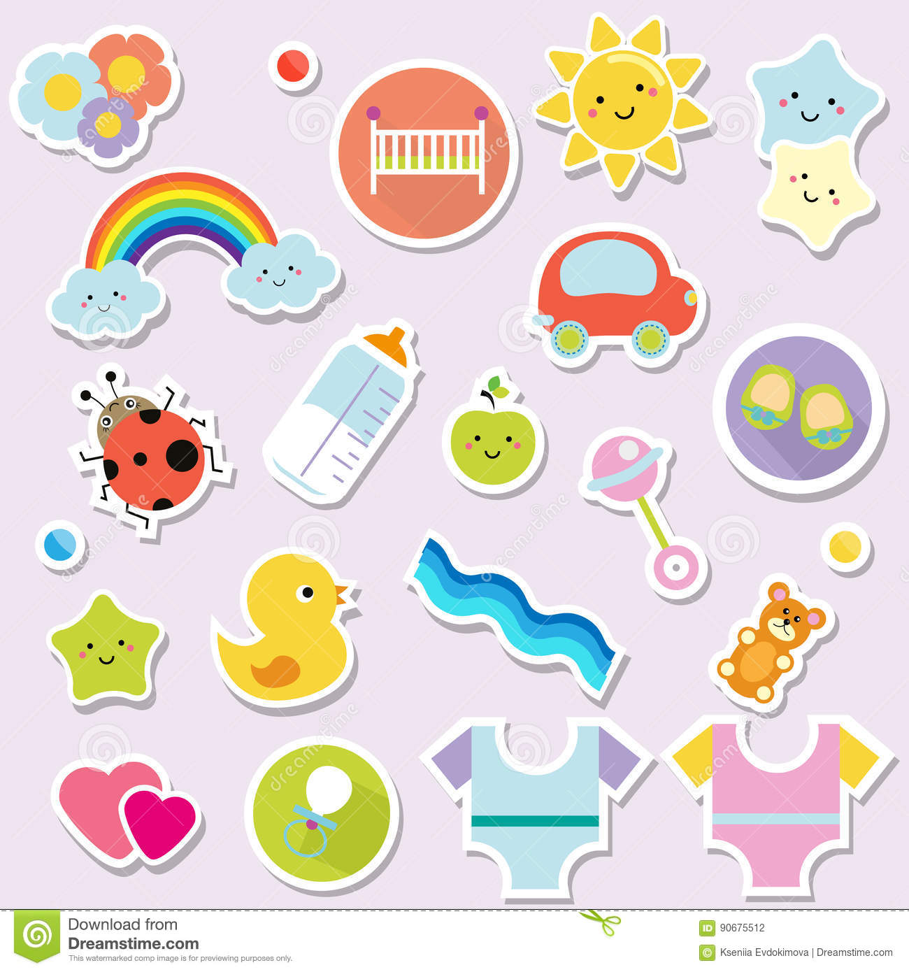 Baby Stickers Kids Children Design Elements