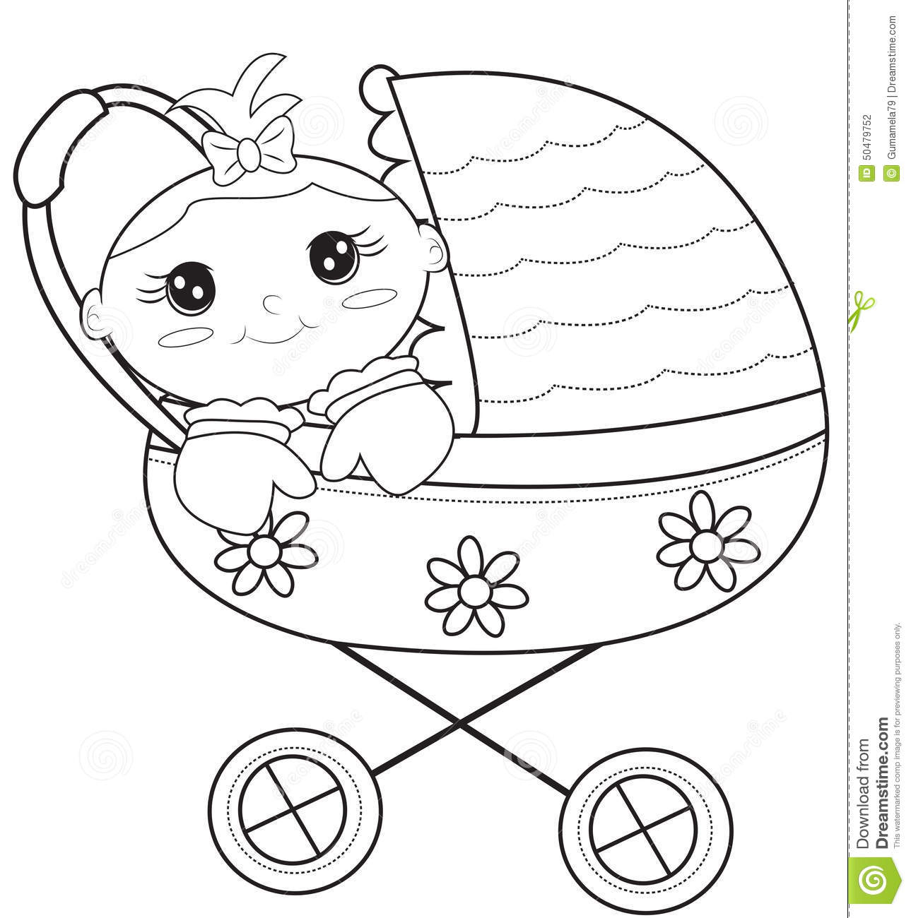 baby stroller coloring page