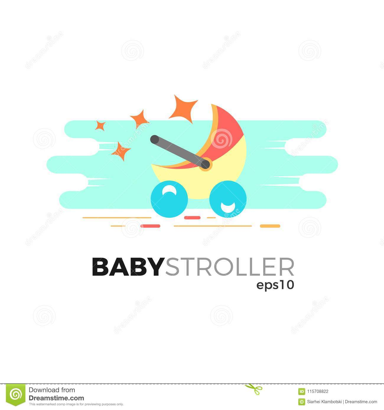 Baby stroller illustration stock vector illustration of care baby stroller vector illustration in flat style isolated on white background logo template for your business maxwellsz