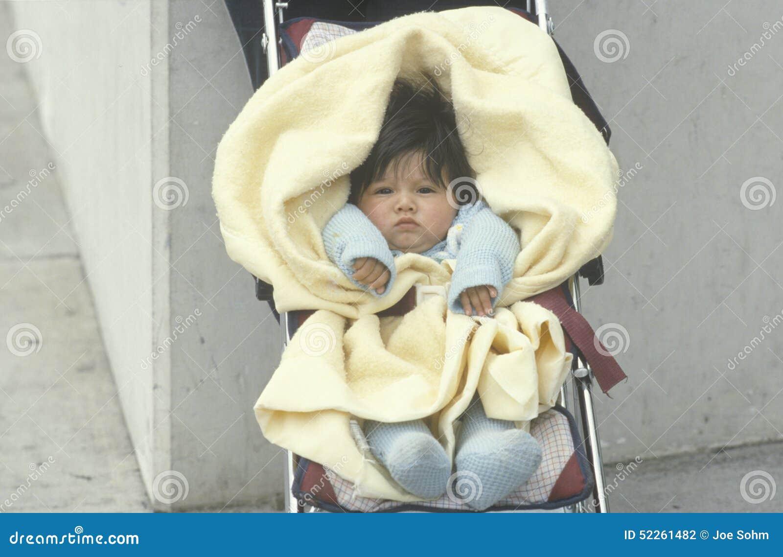 A Baby In A Stroller Los Angeles Ca Editorial