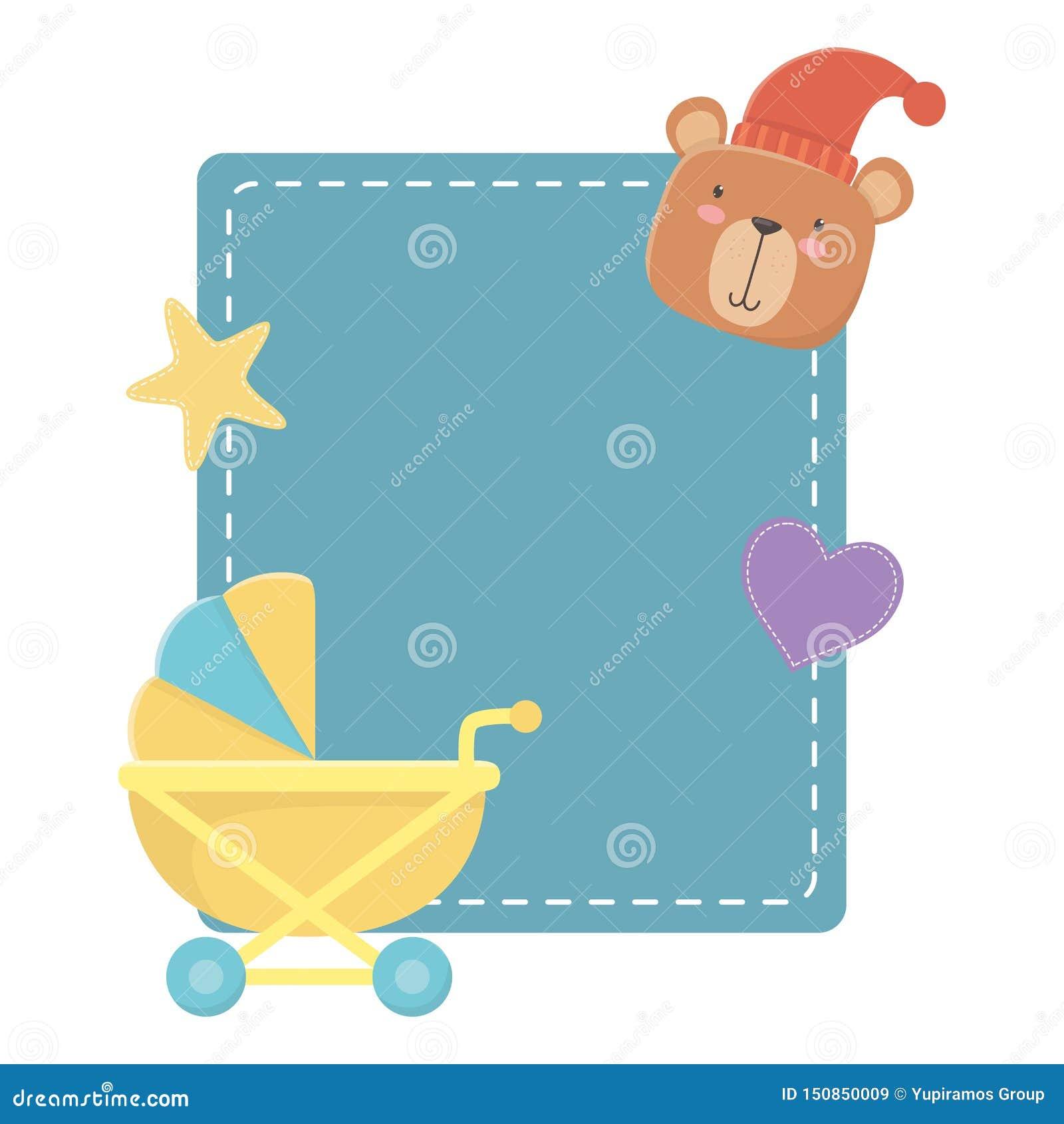 Baby stroller and teddy bear design