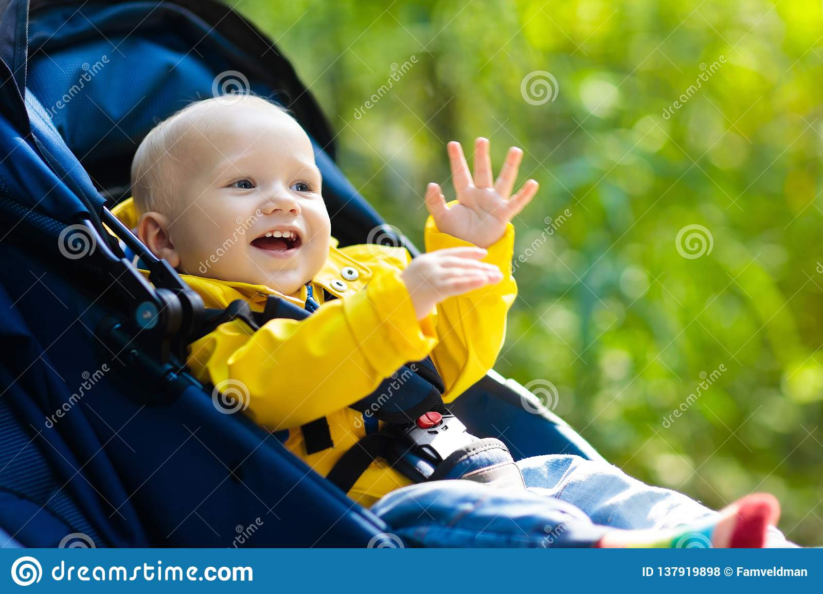 397d5a78ead1 Baby Boy In Stroller In Autumn Park Stock Photo - Image of blanket ...