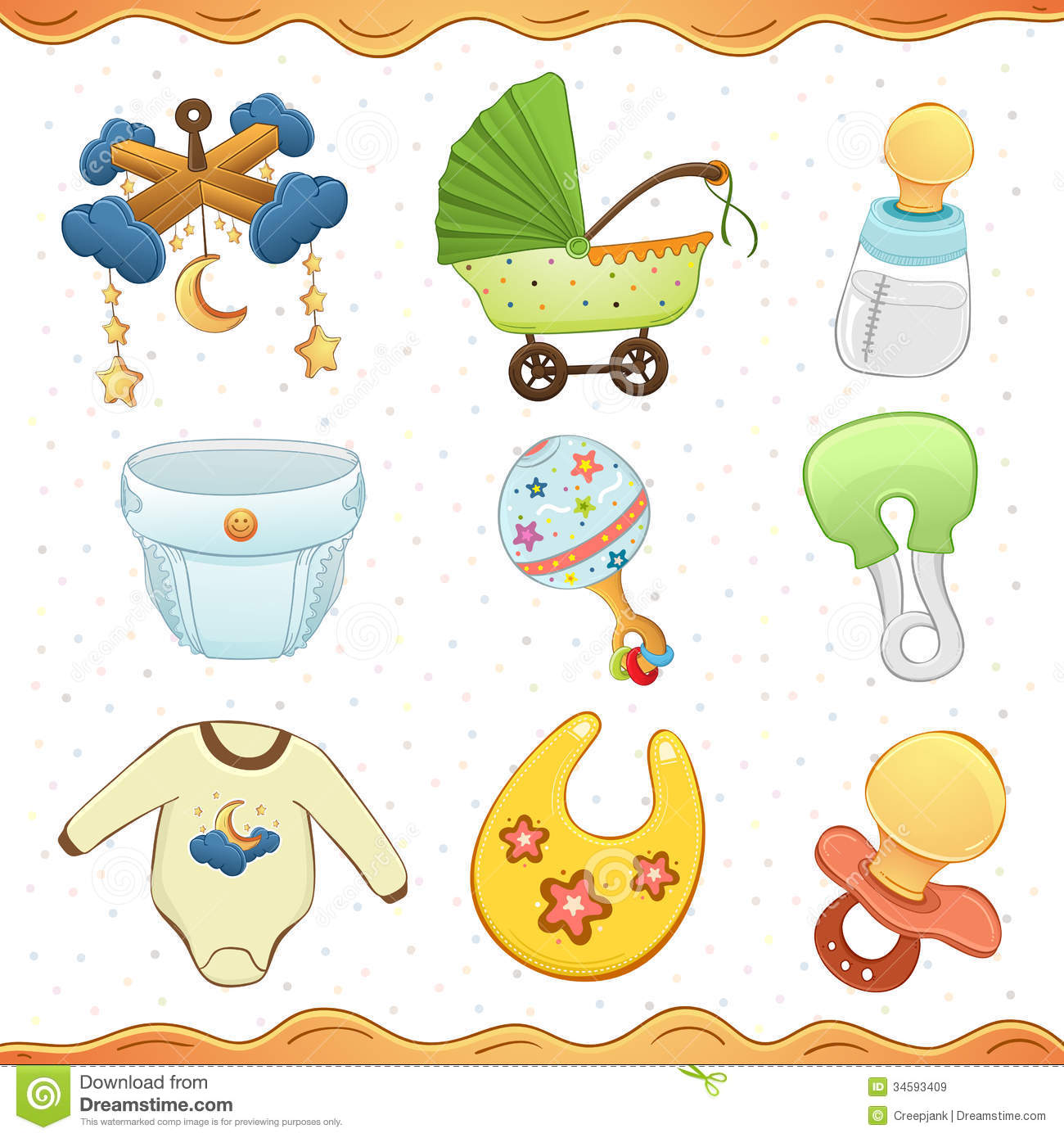 Baby Stuff Cartoon Icon Collection Royalty Free Stock Images
