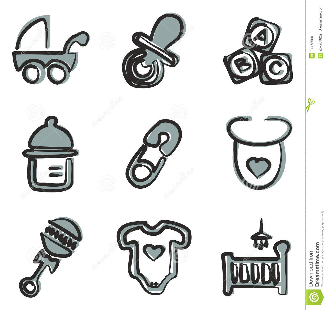 Baby Stuff Icons Freehand 2 Color Stock Vector - Illustration of ...