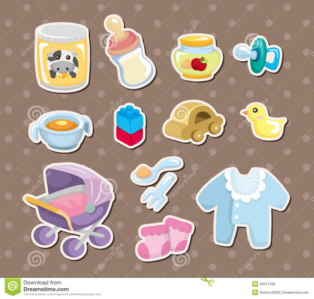 Baby Stuff Stickers Stock Vector Illustration Of Happiness 26071436