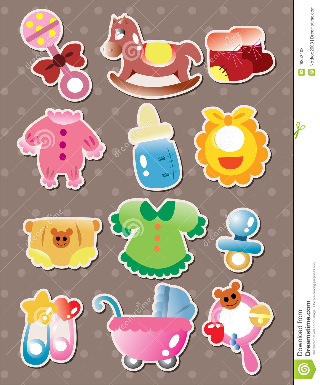 Baby Stuff Stickers Stock Vector Illustration Of
