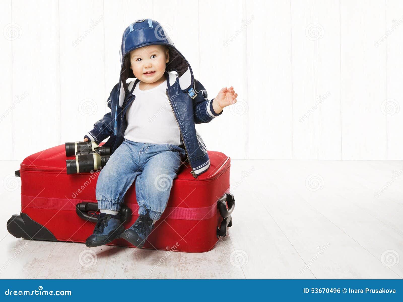 Baby and Suitcase, Kid Luggage, Child Boy Leather Jacket Helmet