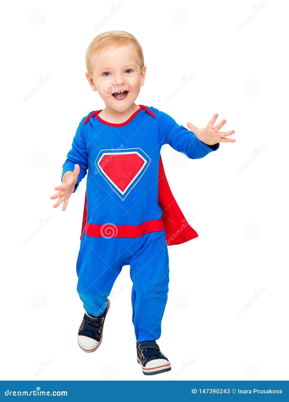 Baby Superhero, Super de Heldenkostuum van de Jong geitjejongen, Gelukkige Kindsuperman op Wit