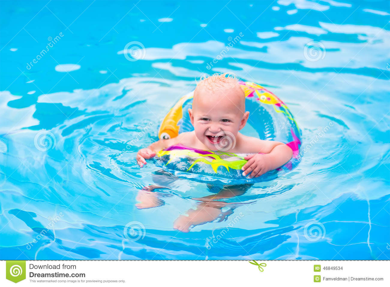 baby in a swimming pool stock photo image of happiness 46849534