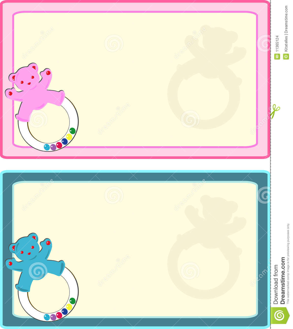 Blue and pink baby announcement stationary,tag.