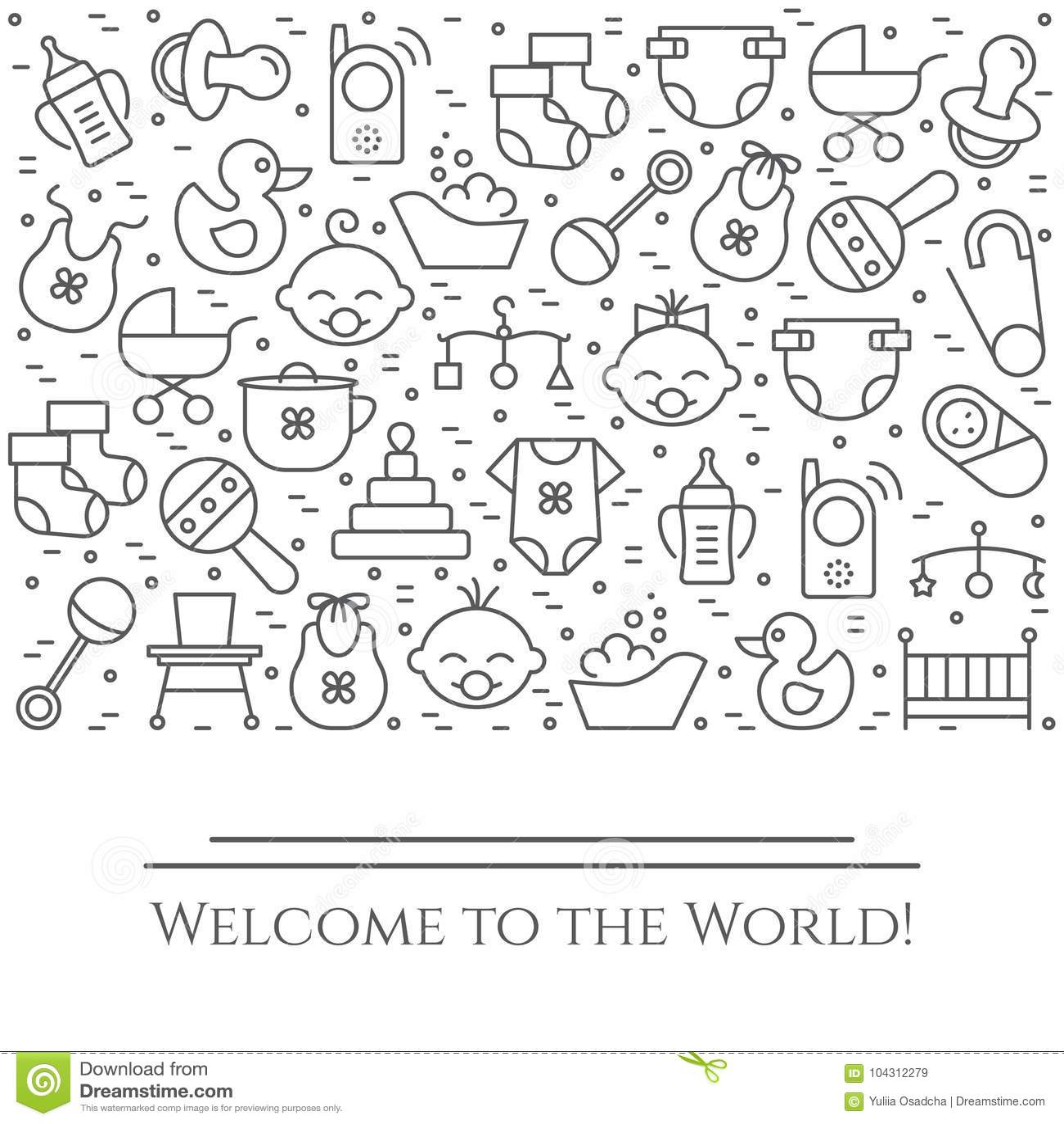 Baby theme horizontal banner. Pictograms of baby, pram, crib, mobile, toys, rattle, bottle, diaper, bathtub, bib and other newborn