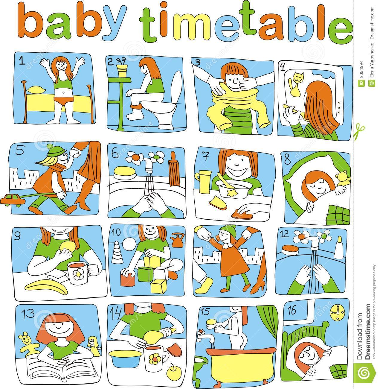 Baby Timetable Stock Images Image 9054994