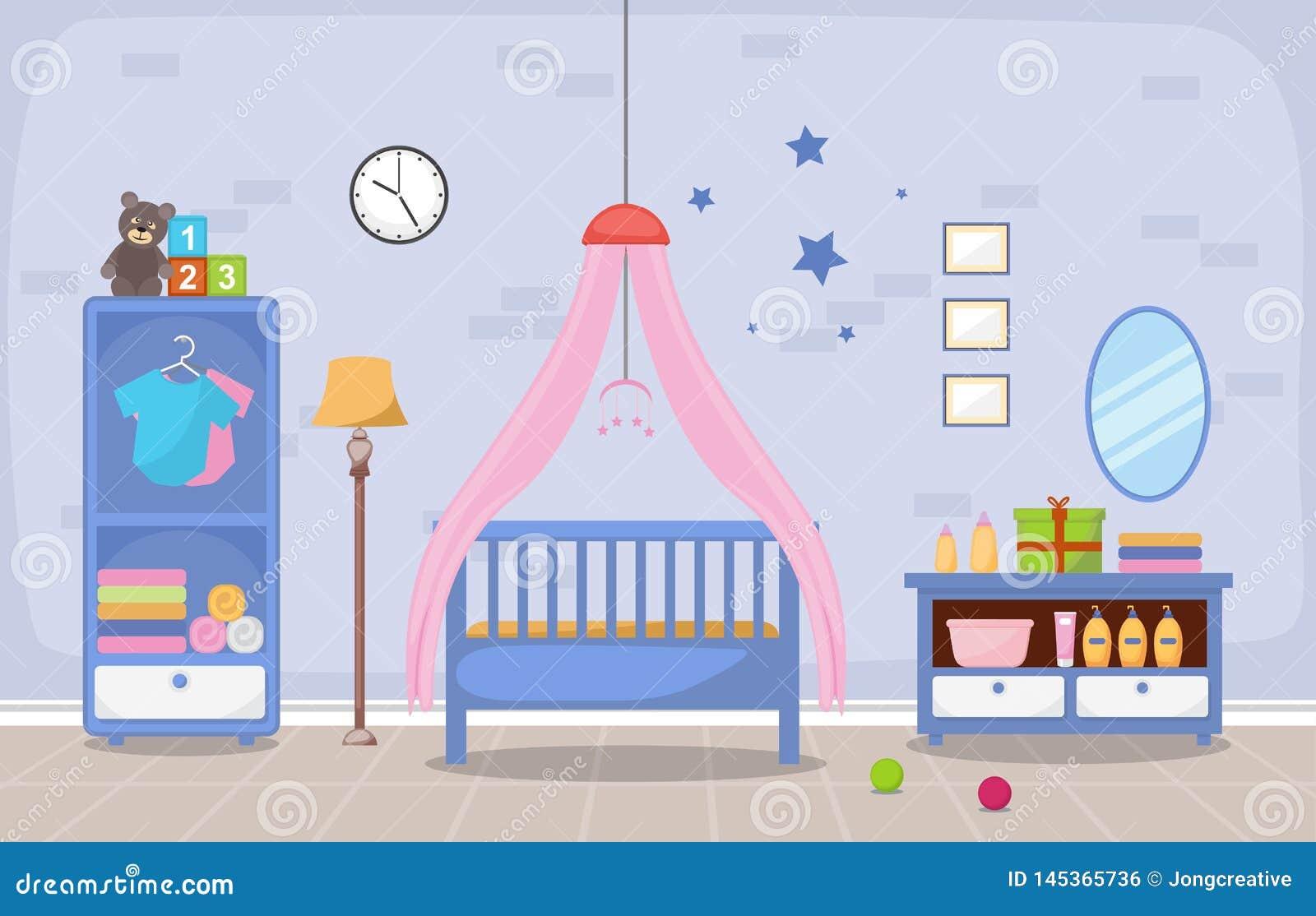 Image of: Baby Toddler Children Bedroom Interior Room Furniture Flat Design Stock Vector Illustration Of Netting Chair 145365736