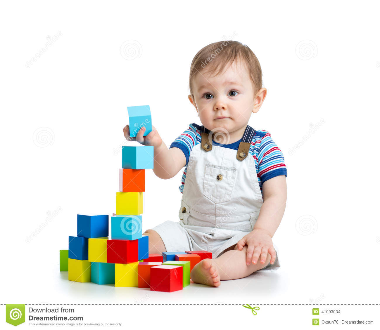 Building Toys For Babies : Baby toddler playing building block toys stock photo