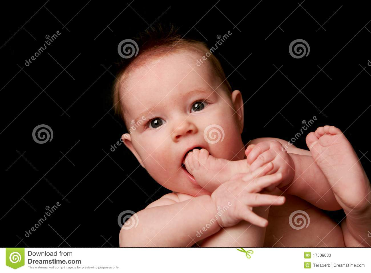 Cute baby lying on back eating toes in mouth, isolated on black ...