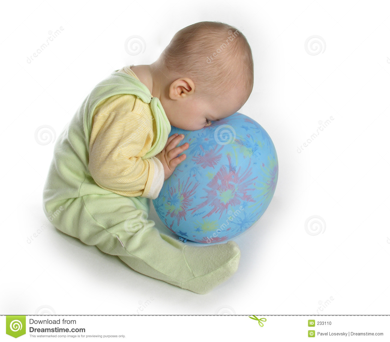 Baby touch nose to balloon