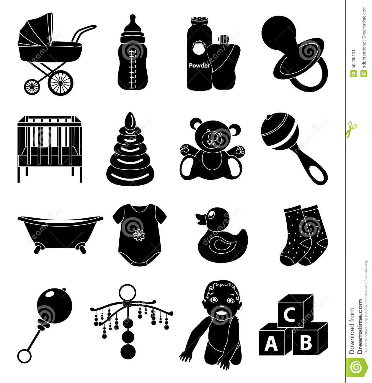 Toddler Toys Black And White : Baby toy icons set stock vector illustration of bell