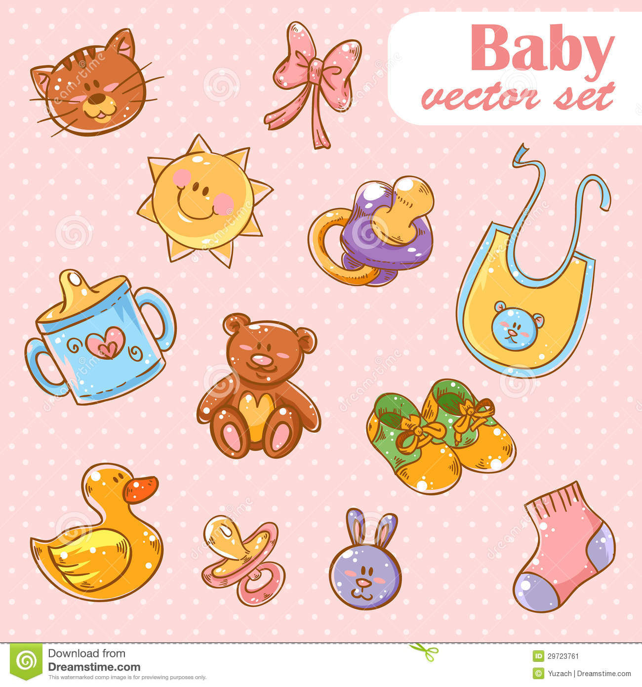 Cartoon Baby Toys : Baby toys cute cartoon set background stock vector image
