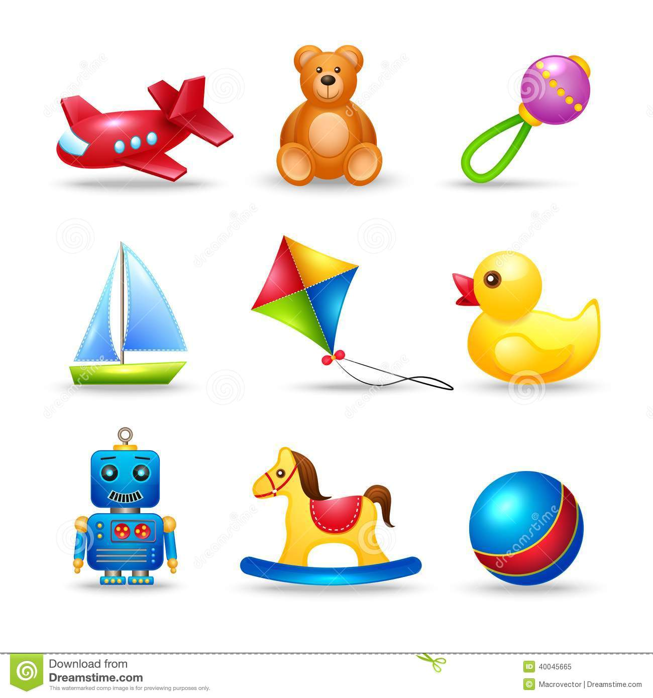 ... set of airplane teddy bear rattle boat isolated vector illustration