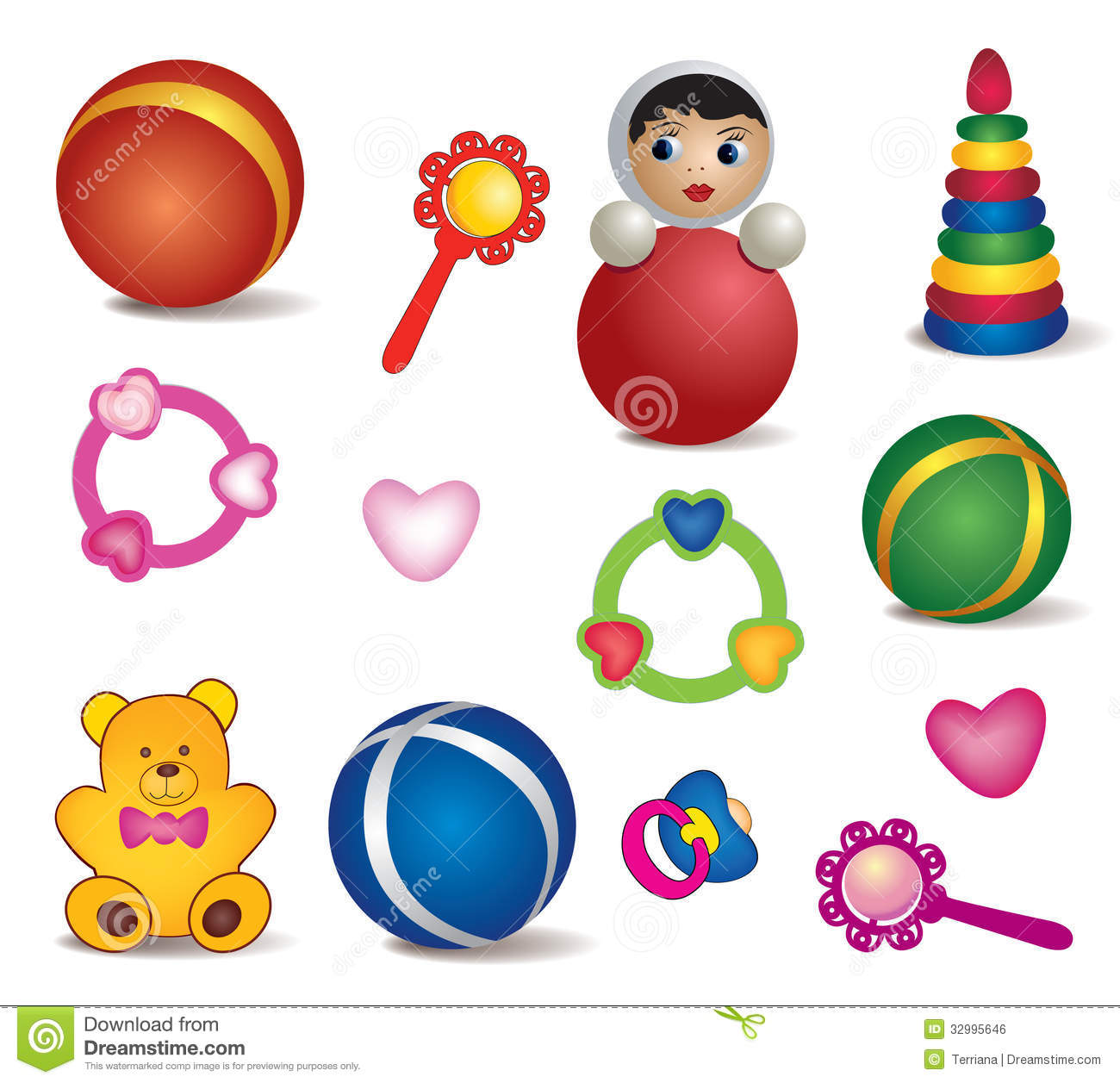Baby Toys Isolated Vector Set Of Toy Icon Stock
