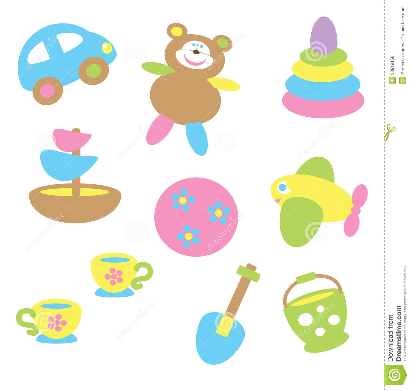 Toy Food Clip Art : Baby toys in pastel tone royalty free stock image