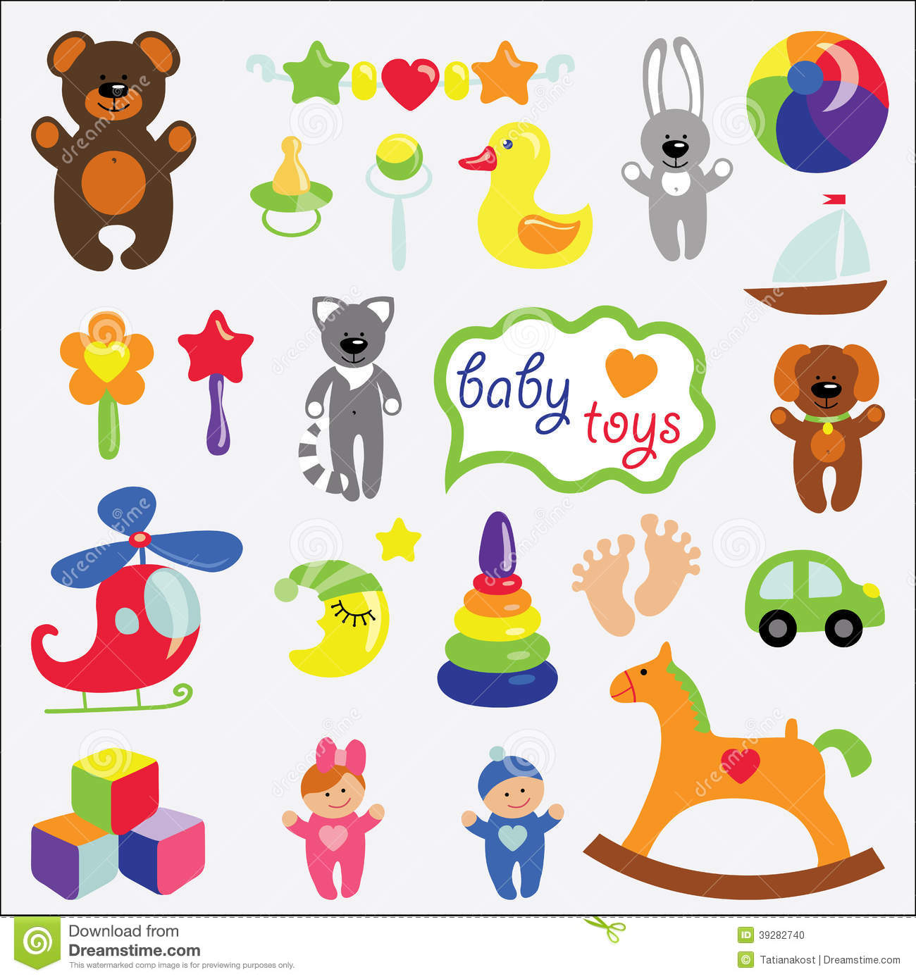 Cartoon Baby Toys : Baby toys set collection stock vector illustration of