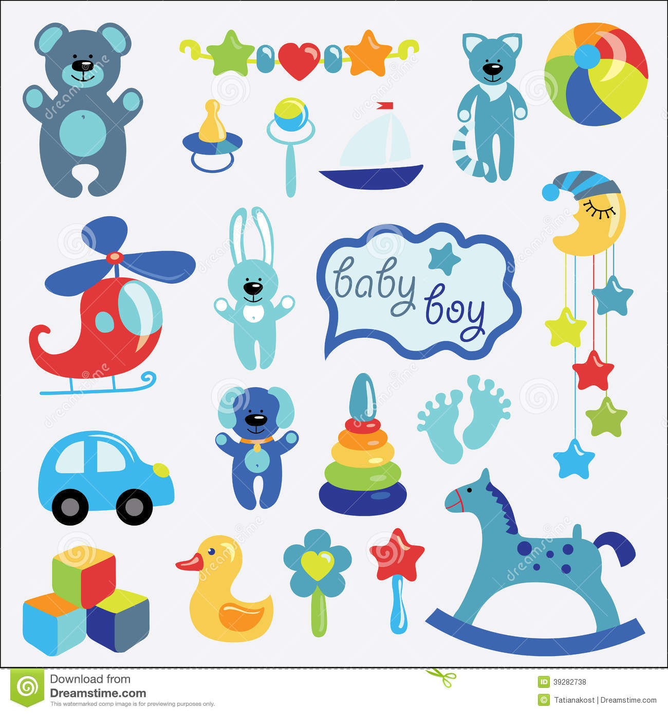 Baby Toys Set Collection For Little Boy Stock Vector Illustration