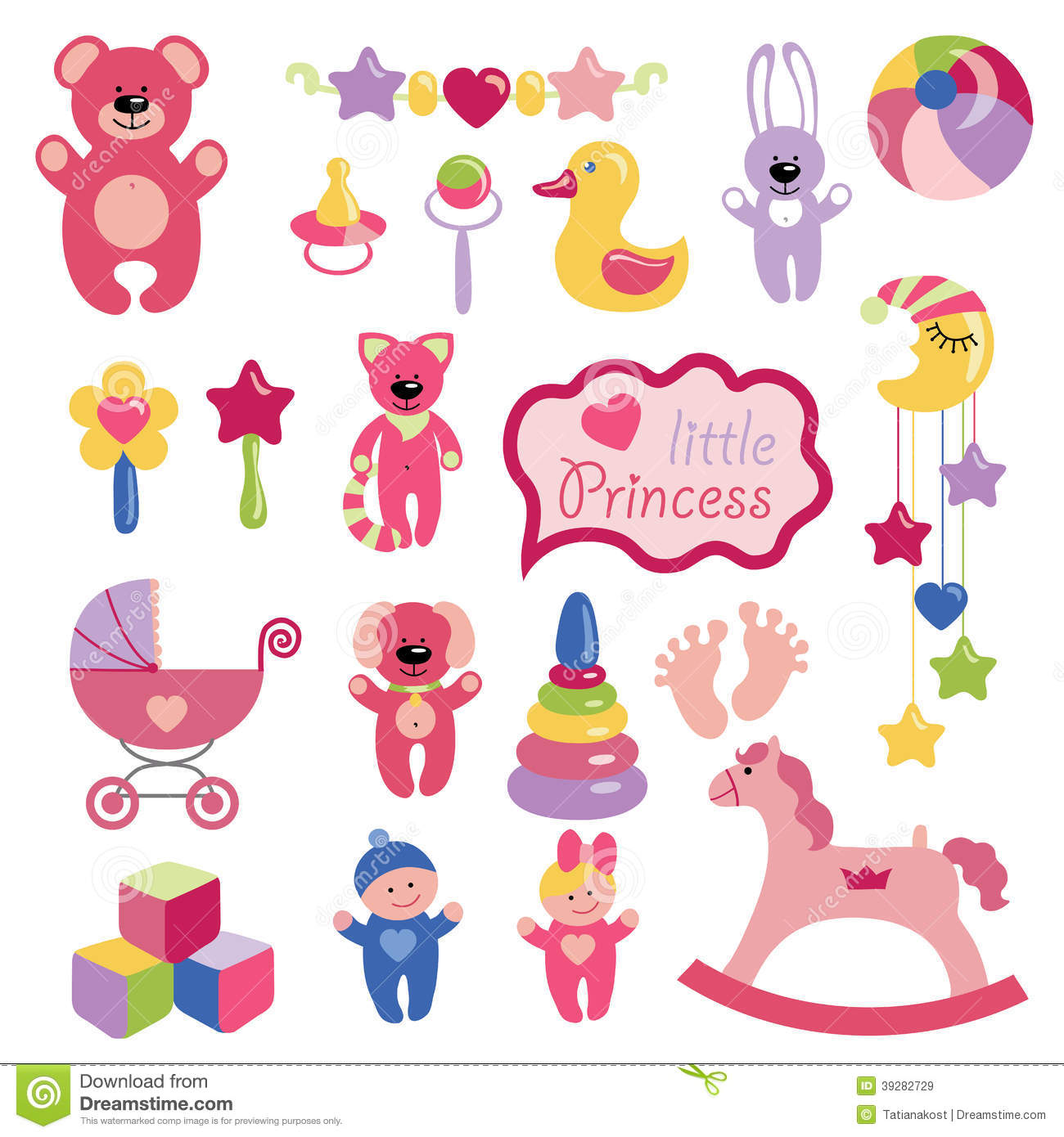 Girl Toys Color : Baby toys set collection for little girl stock vector