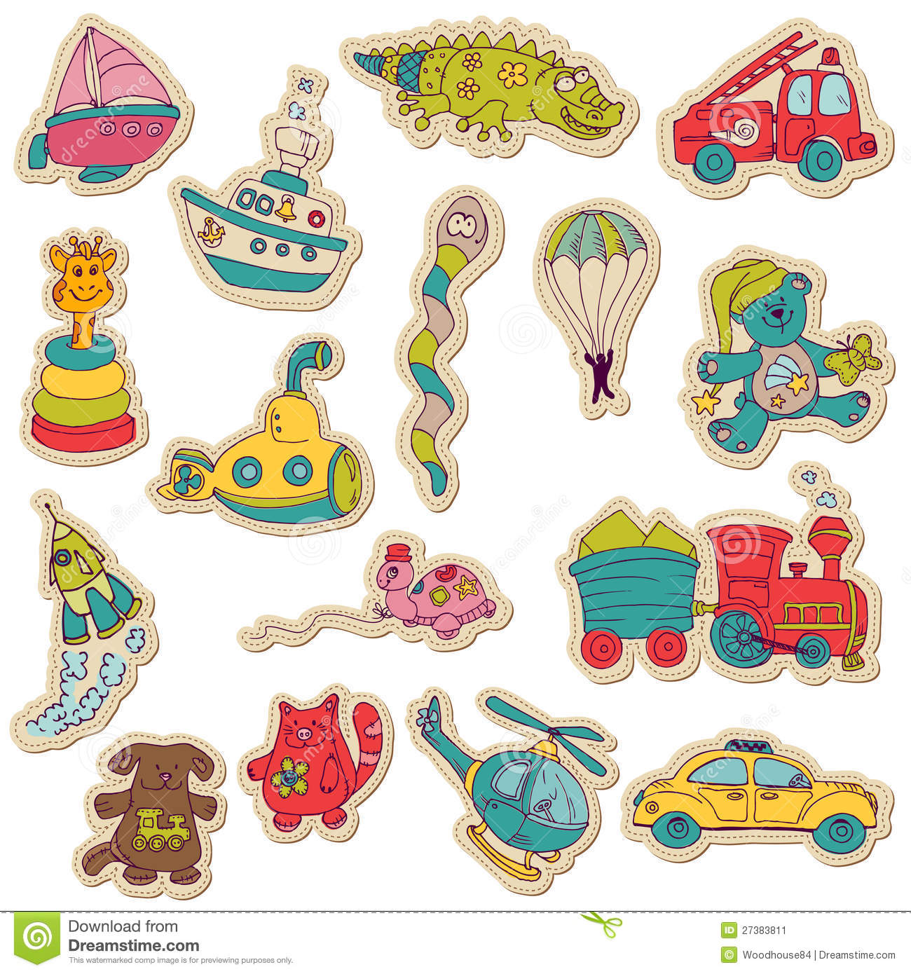 Baby toys stickers for design and scrapbook stock image image 27383811 - Stickers style industriel ...