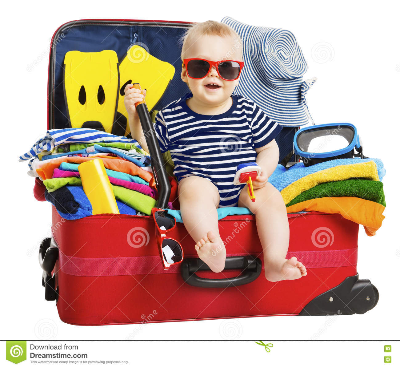 Baby Travel Vacation Suitcase. Kid In Packed Luggage, Family And ...
