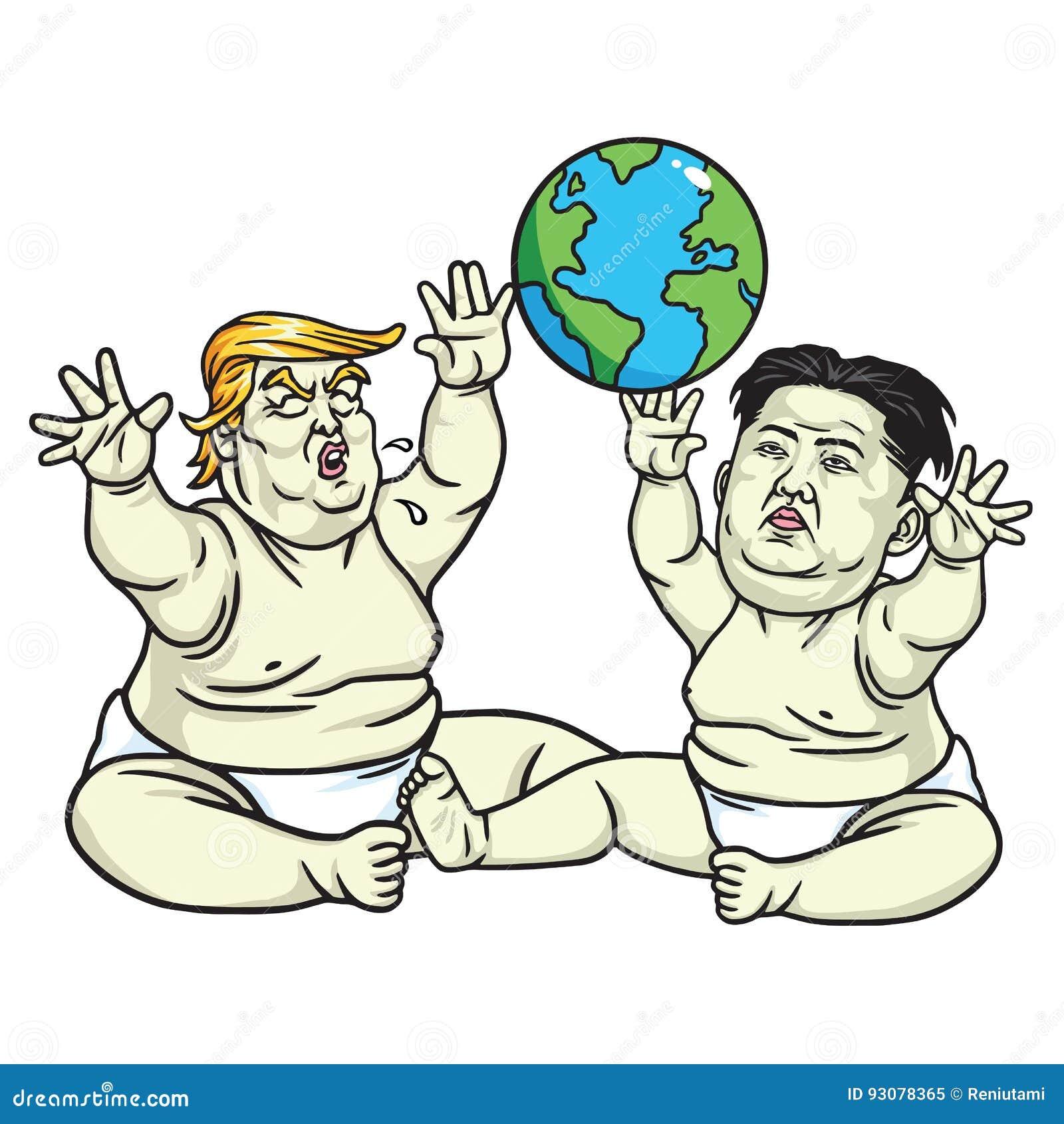 Baby Trump and Kim Jong-un Playing the Globe. Cartoon Illustration. May 25, 2017