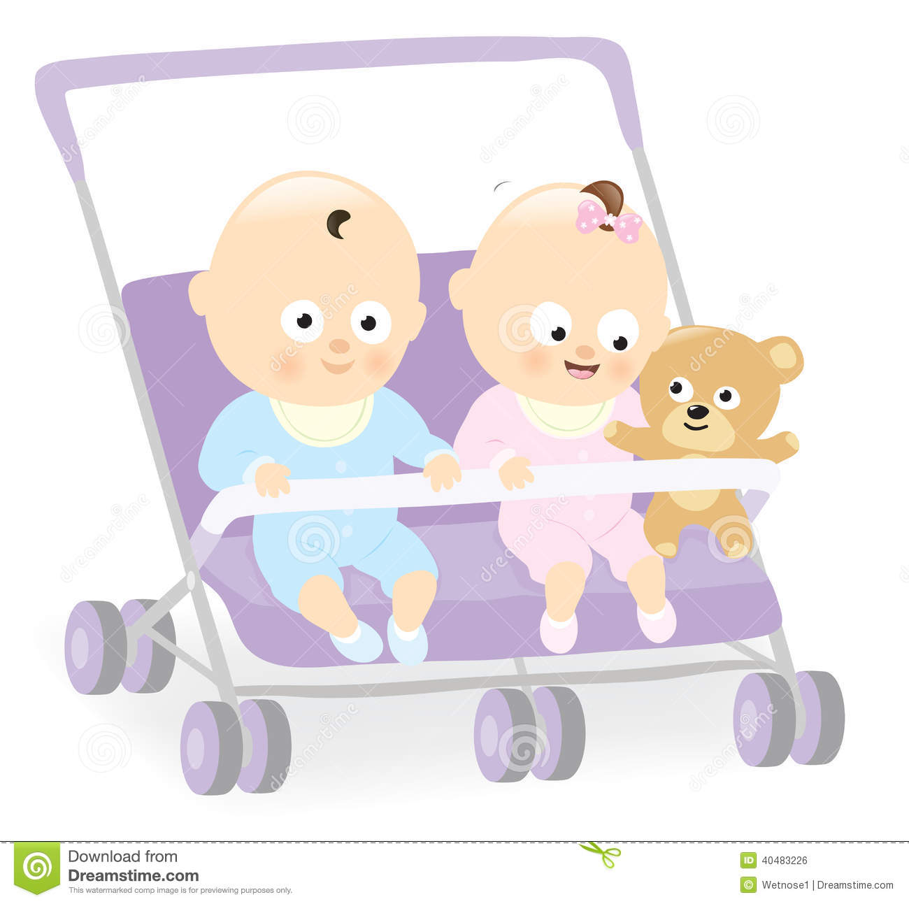 Illustration of baby boy and baby girl with teddy bear in stroller. Baby Stroller Cartoon