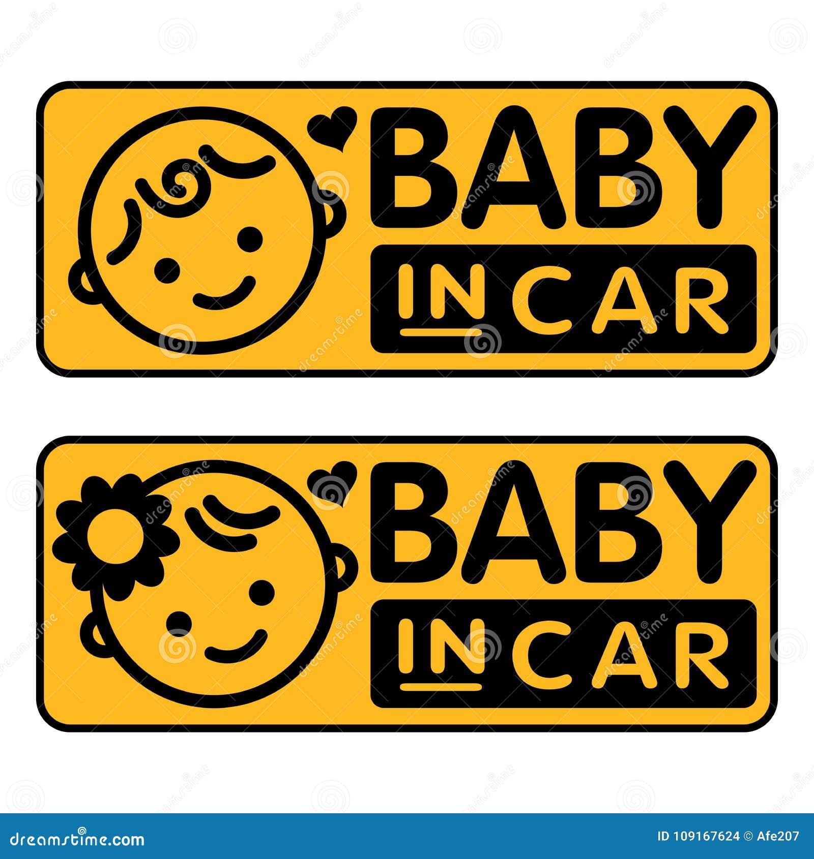 Baby und Mädchen, Baby im Autoaufkleber