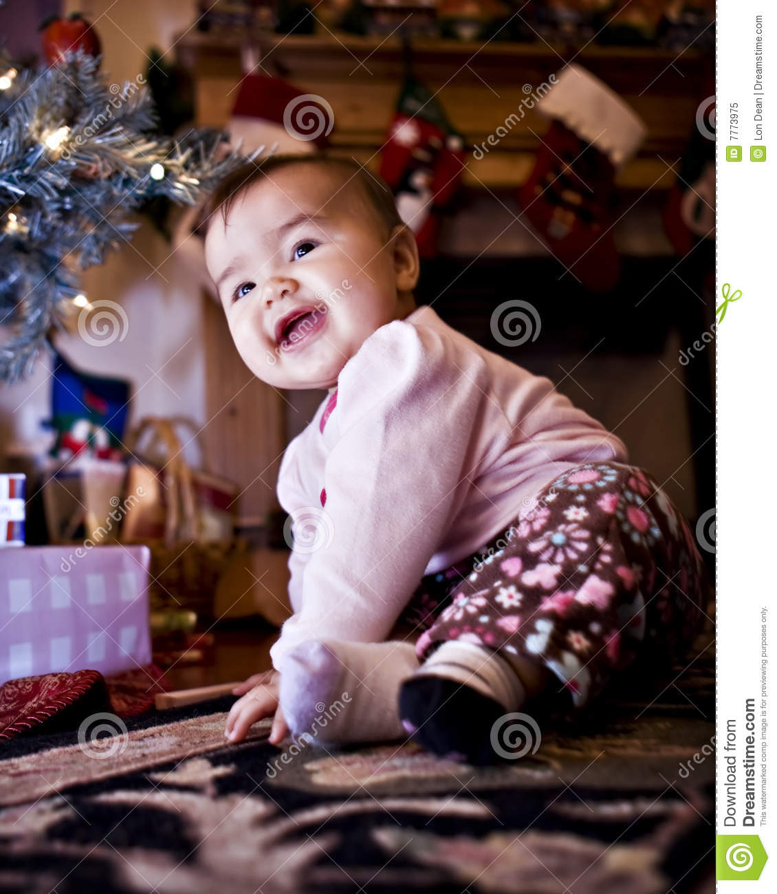 Baby Christmas Trees: Baby Under Christmas Tree Stock Image. Image Of Happy