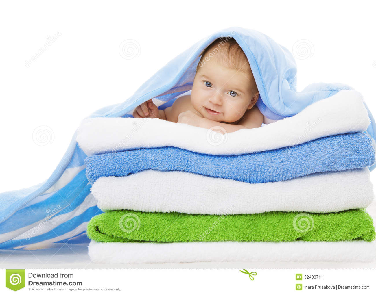 Baby Under Towels Blanket, Clean Kid After Bath, Cute Infant Stock ...