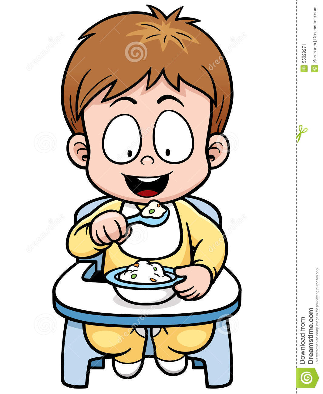 Vector illustration of cartoon baby eating.