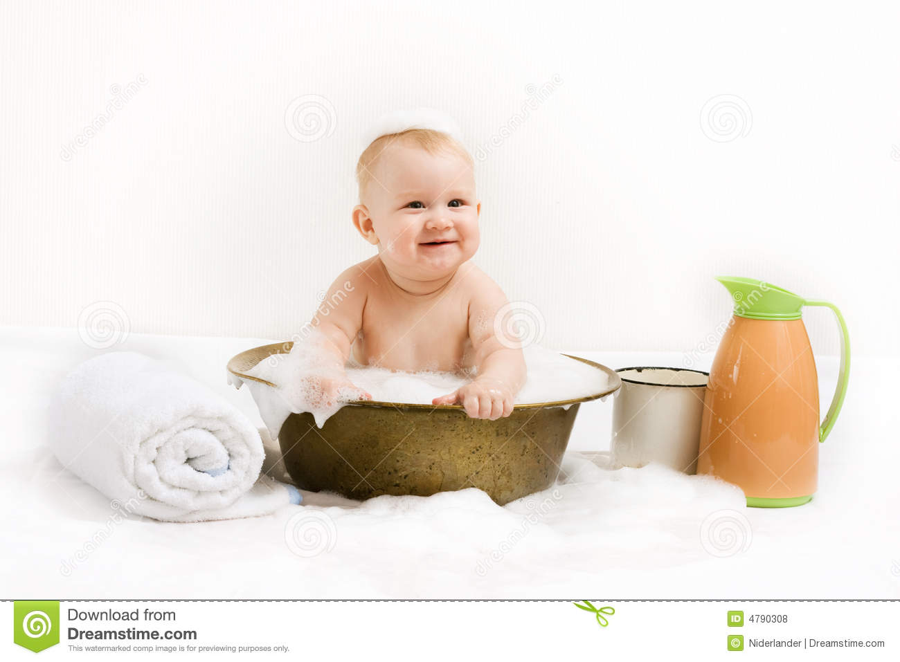Baby In Vintage Tub Stock Photo Image Of Cute Towel