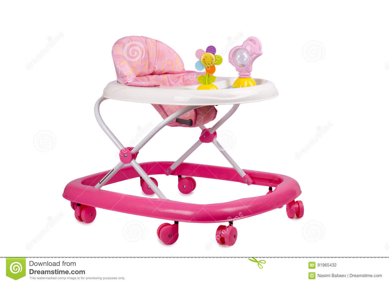 modern baby walker - baby walker with toys isolated on white stock photo image