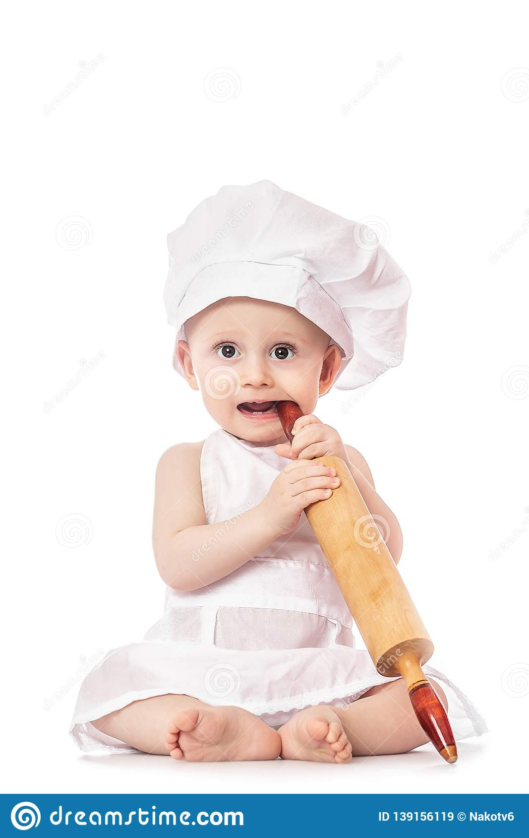Baby Wearing A Chef Hat With Dough Rolling Pin ca4ec41116ae