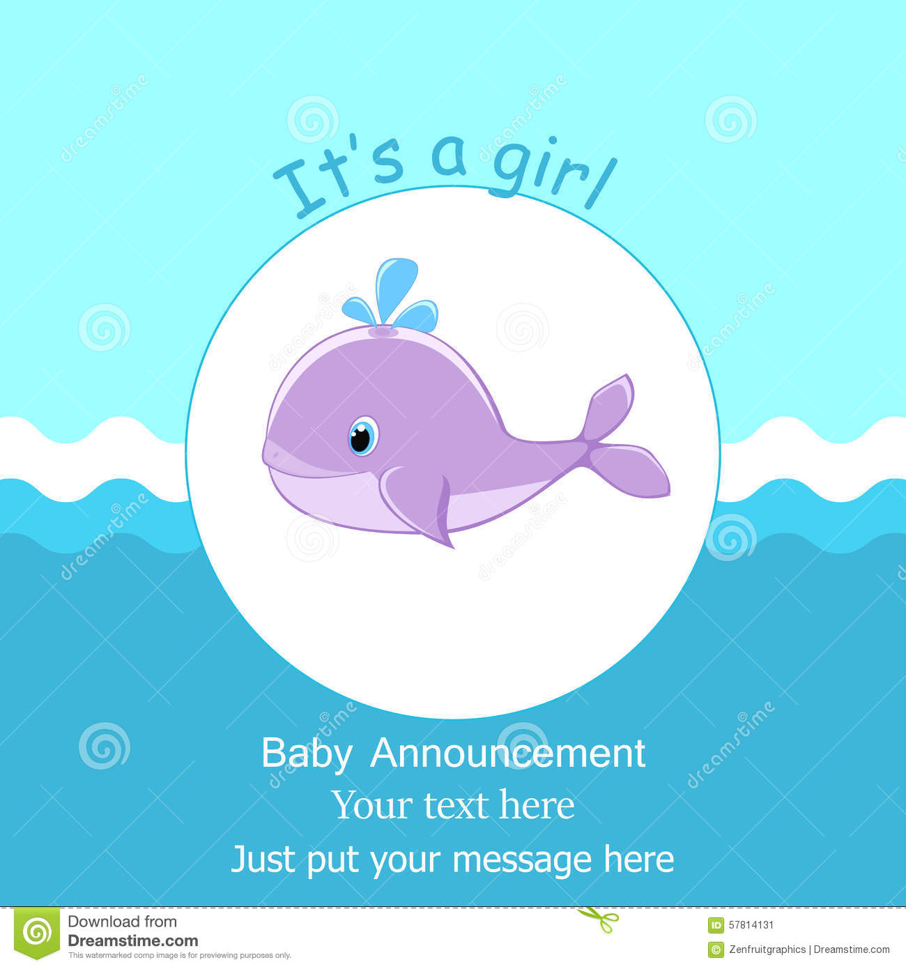 Baby Whale It S A Girl Card Design Baby Shower Invitation Template