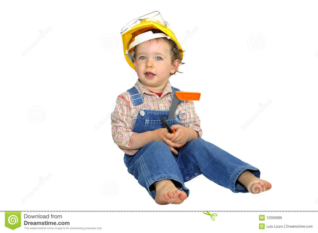 5a409ae1312 Baby worker with hat and tools isolated in white