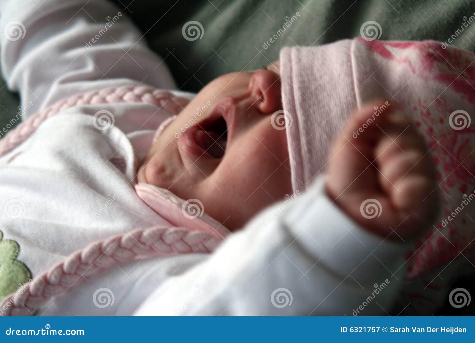 Baby Yawning And Stretching Stock Image - Image of dozing ...