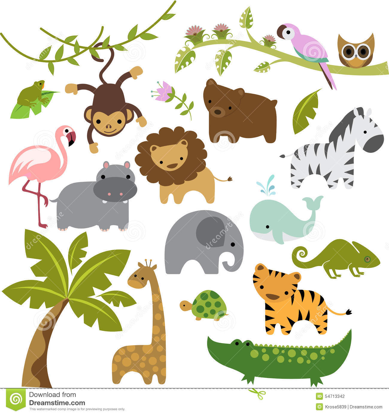 Baby Zoo Animals Vector Clipart Stock Vector Illustration Of