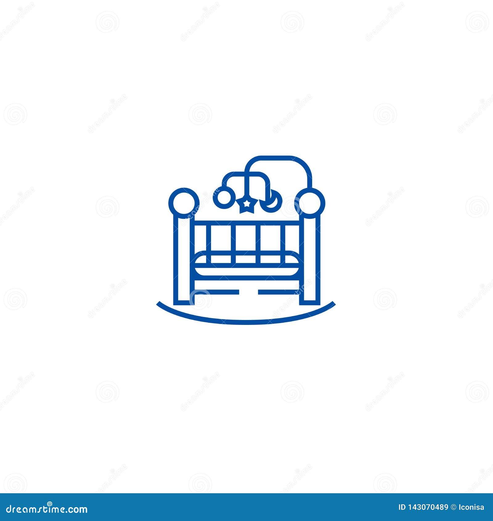 Babybed, het pictogramconcept van de voederbaklijn Babybed, voederbak vlak vectorsymbool, teken, overzichtsillustratie