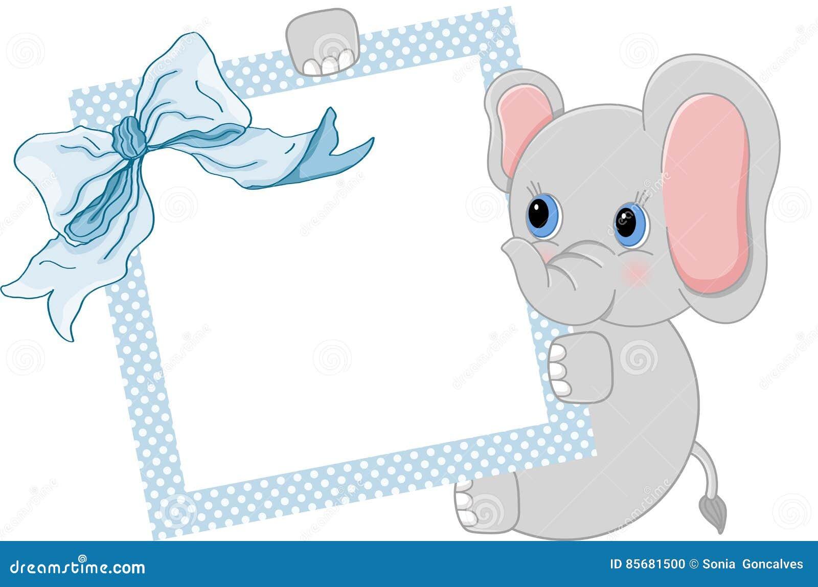 Babyelefant, Der Blauen Rahmen Und Band Hält Vektor Abbildung ...