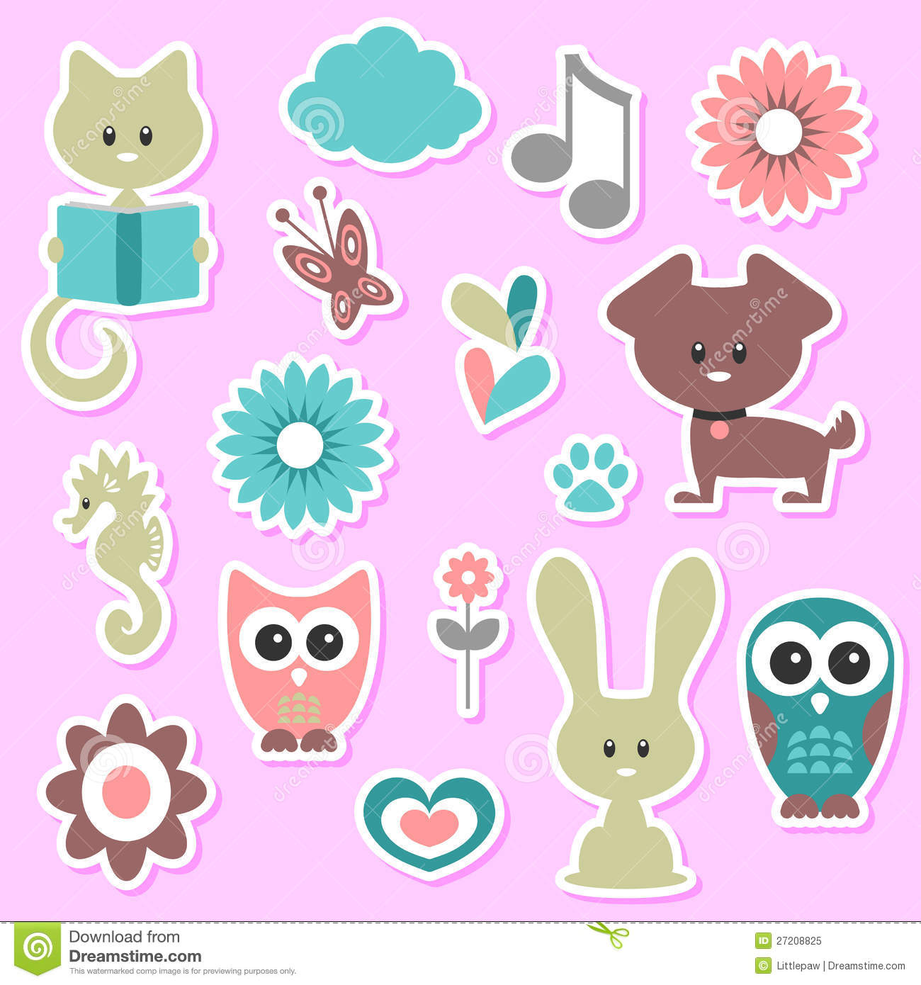 photo booth background ideas - Babyish Cute Stickers Set Royalty Free Stock Image