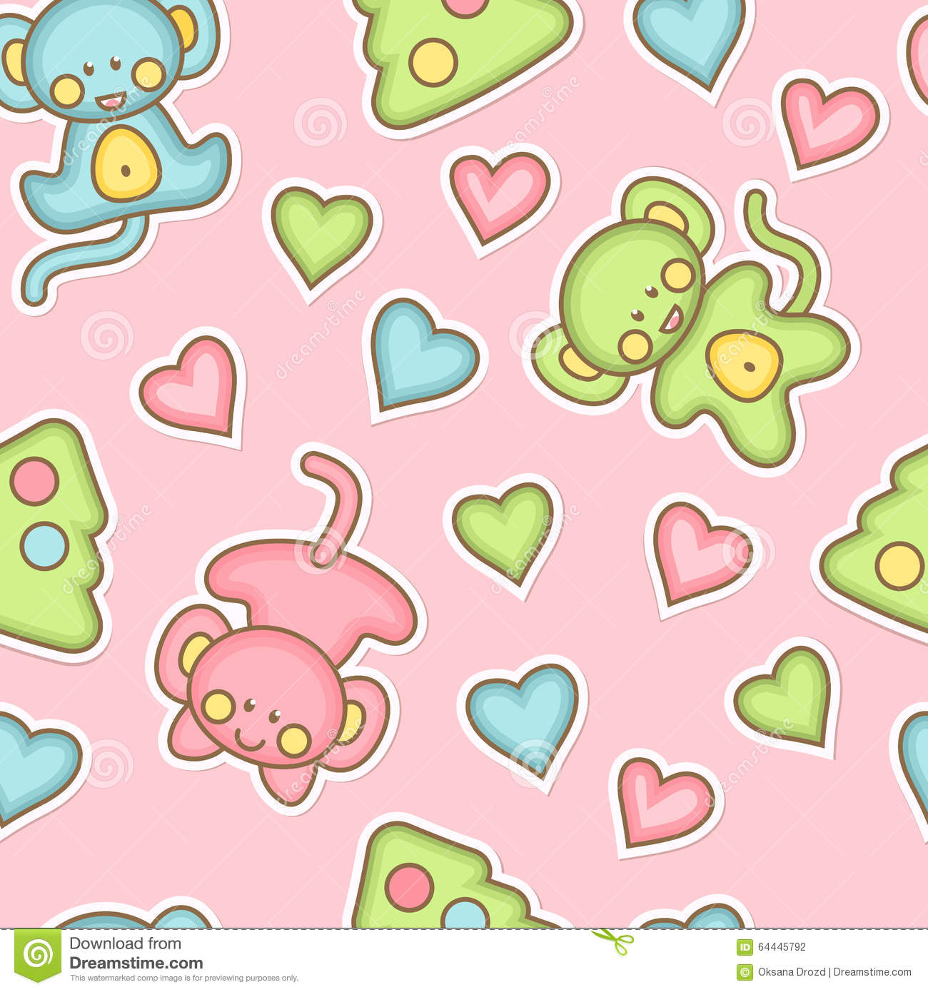 Babyish seamless pattern with baby monkeys and hearts