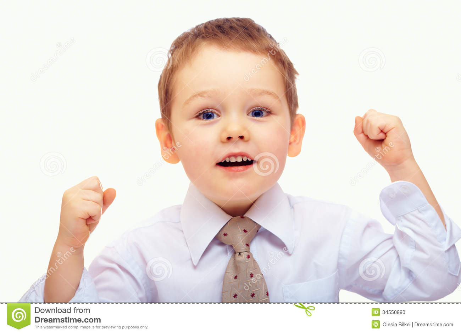 Babyjongen die voltooiing en succes uitdrukken