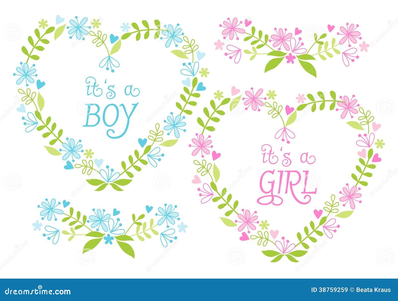 Babyjongen en meisje, bloemenharten, vector
